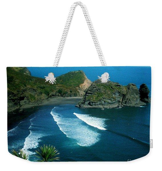 Lion Beach Piha New Zealand Weekender Tote Bag