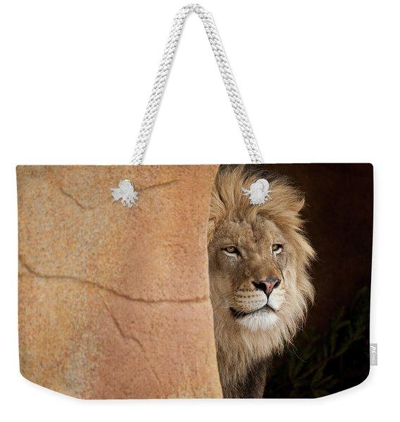 Lion Emerging    Captive Weekender Tote Bag