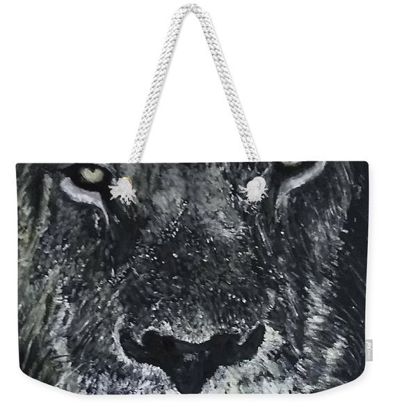 Weekender Tote Bag featuring the painting Lion by Kevin Daly