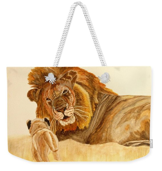 Lion Watercolor Weekender Tote Bag