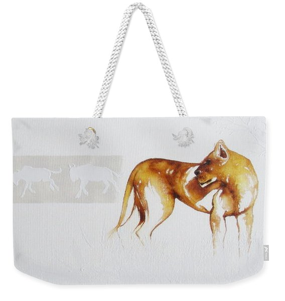 Lioness And Wildebeest Weekender Tote Bag