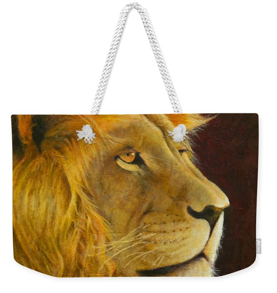 Lion's Gaze Weekender Tote Bag