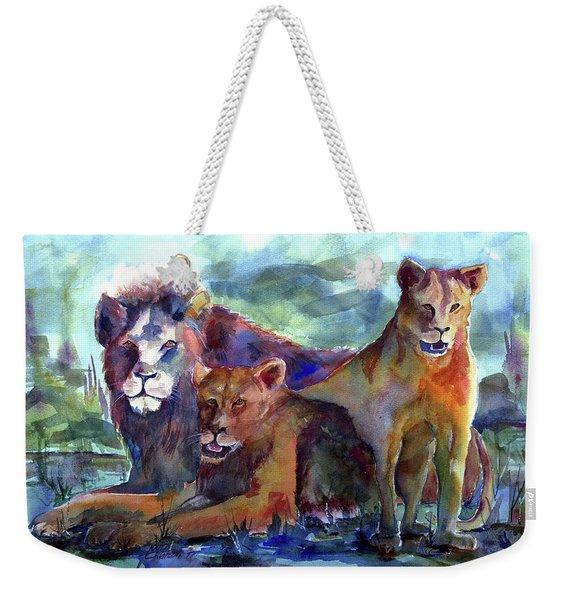Lion's Play Weekender Tote Bag