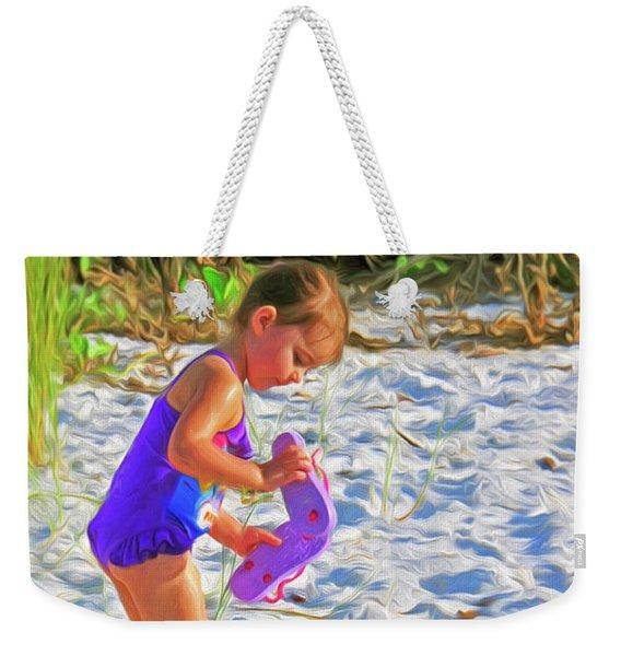 Little Beach Girl With Flip Flops Weekender Tote Bag