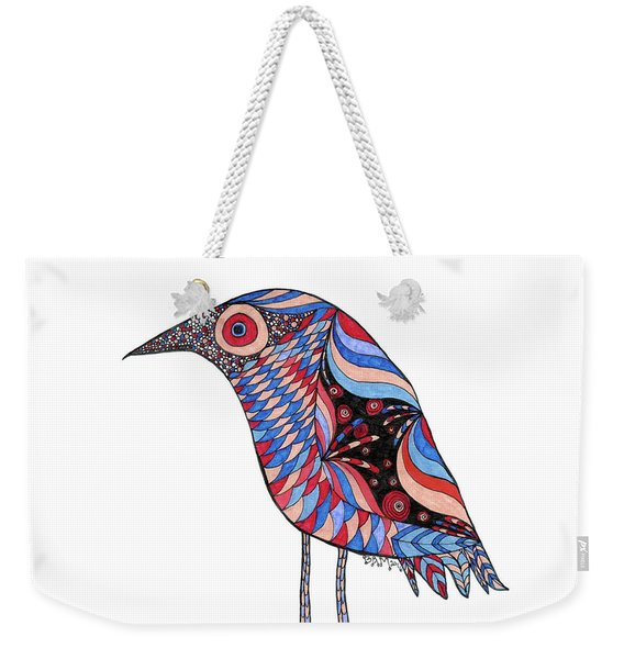 Weekender Tote Bag featuring the drawing Little Bird by Barbara McConoughey