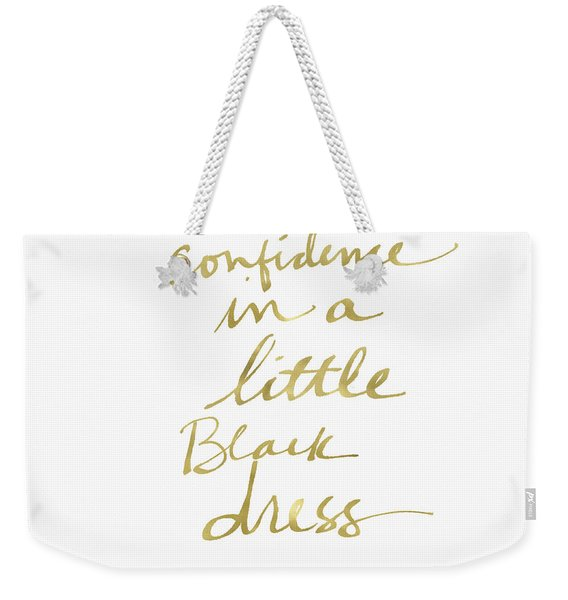 Little Black Dress Gold- Art By Linda Woods Weekender Tote Bag