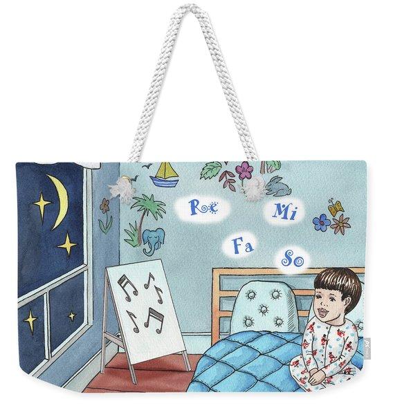 Little Boy Singing In The Bed Weekender Tote Bag