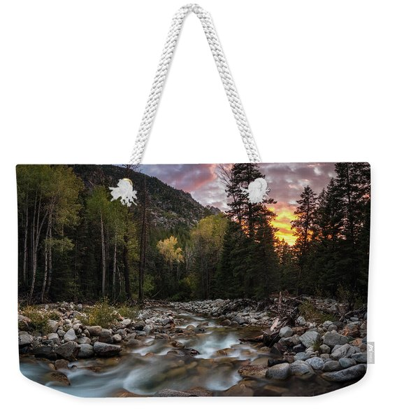 Little Cottonwood Creek Fall Sunset Weekender Tote Bag
