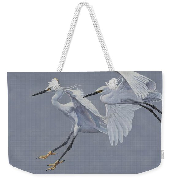 Little Egrets In Flight Weekender Tote Bag