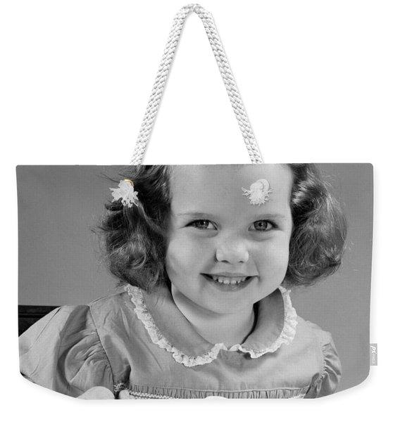 Little Girl Eating Ice Cream, C.1950s Weekender Tote Bag
