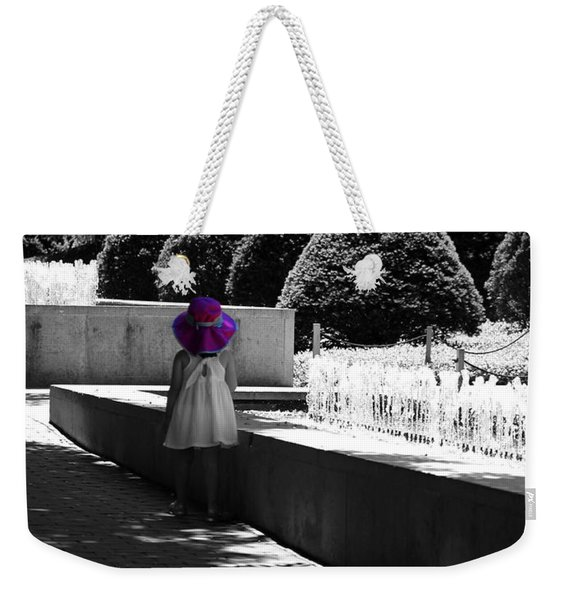 Little Girl In Magenta Hat Black And White Selective Color Weekender Tote Bag