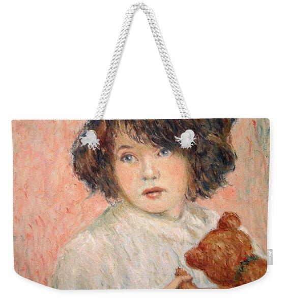 Little Girl With Bear Weekender Tote Bag