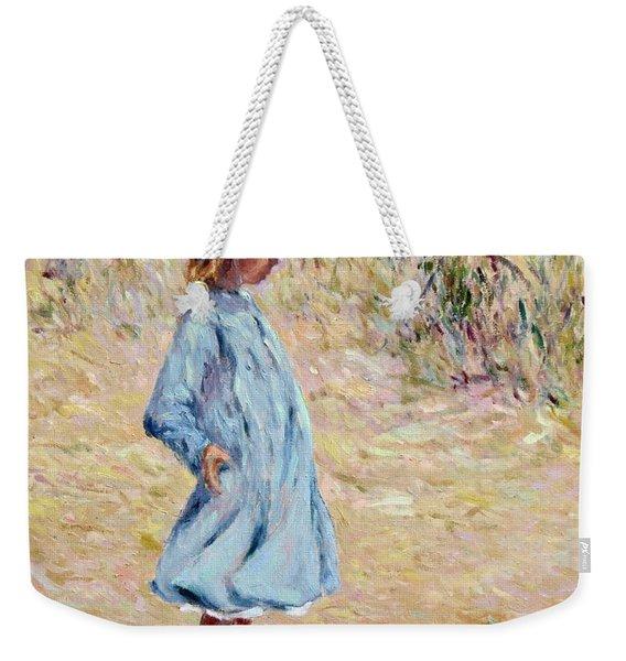 Little Girl With Blue Dress Weekender Tote Bag