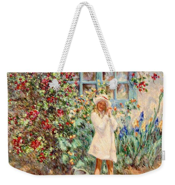 Little Girl With Roses  Weekender Tote Bag