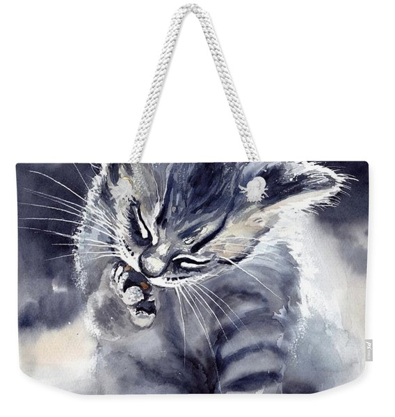 Little Grey Cat Weekender Tote Bag