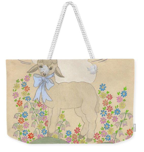 Little Lamb Lightened Weekender Tote Bag