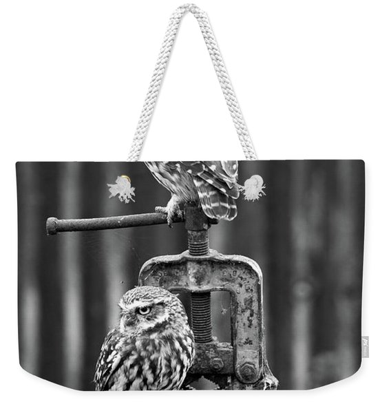 Little Owls Black And White Weekender Tote Bag