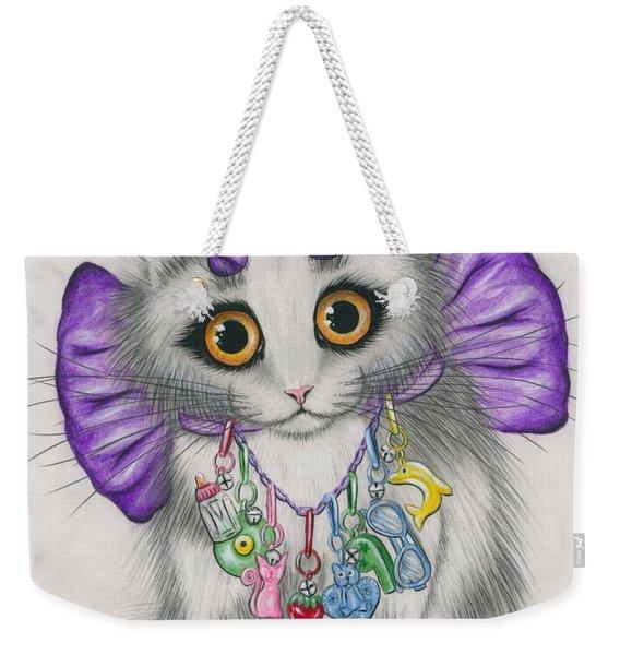 Little Purple Horns - 1980s Cute Devil Kitten Weekender Tote Bag
