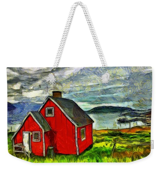 Little Red House In Greenland Weekender Tote Bag
