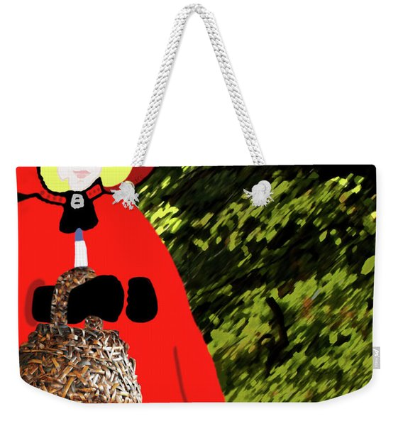 Weekender Tote Bag featuring the painting Little Red Riding Hood In The Forest by Marian Cates