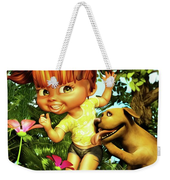Little Redhead And Her Dog Weekender Tote Bag