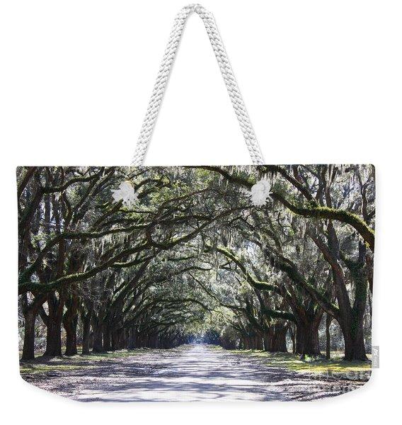 Live Oak Lane In Savannah Weekender Tote Bag