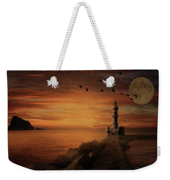 Llight House By Moonlight Weekender Tote Bag