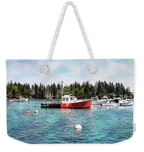Lobster By Night - Sleep By Day - Camden Maine Weekender Tote Bag