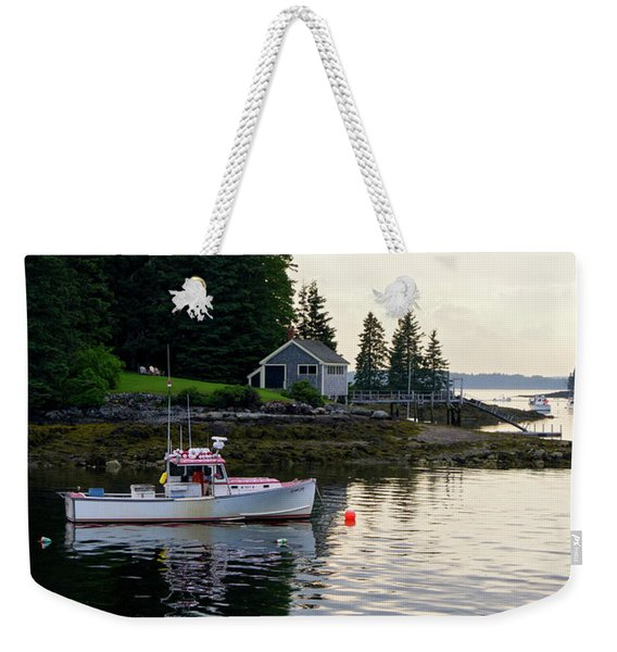 Weekender Tote Bag featuring the photograph Lobster Boat And Clearing Skies, Port Clyde, Maine #30806 by John Bald