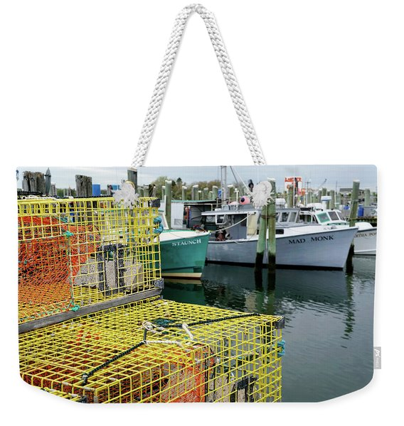 Weekender Tote Bag featuring the photograph Lobster Traps In Galilee by Nancy De Flon
