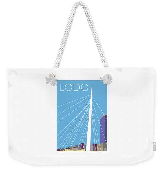 Weekender Tote Bag featuring the digital art Lodo/blue by Sam Brennan