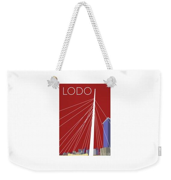 Weekender Tote Bag featuring the digital art Lodo/maroon by Sam Brennan
