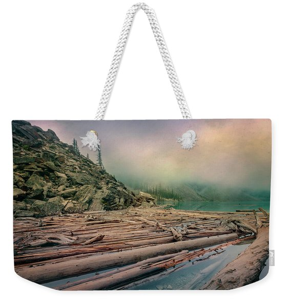 Log Jam At Moraine Lake Banff National Park Canada Weekender Tote Bag