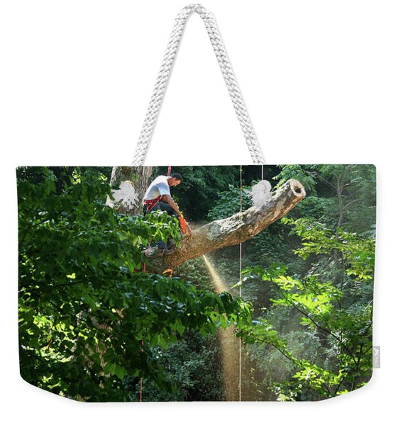 Logger Cutting Down Large, Tall Tree Weekender Tote Bag
