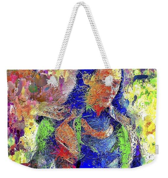 Weekender Tote Bag featuring the mixed media Loki by Al Matra