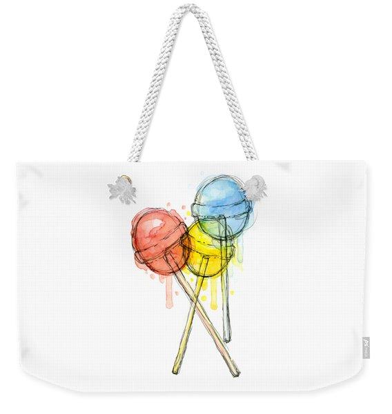 Lollipop Candy Watercolor Weekender Tote Bag