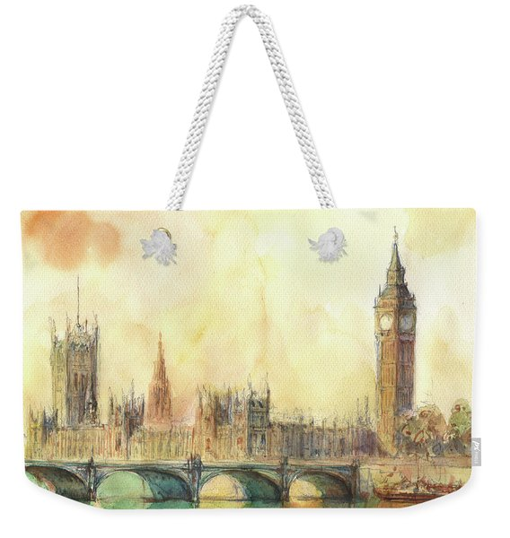 London Big Ben And Thames River Weekender Tote Bag