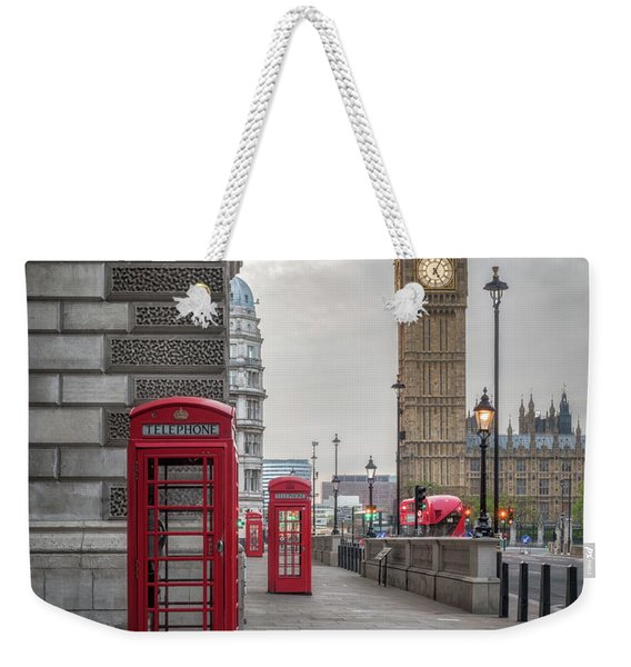 London Phone Booths And Big Ben Weekender Tote Bag