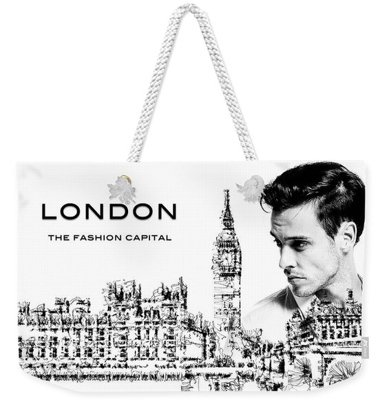 Weekender Tote Bag featuring the digital art London The Fashion Capital by ISAW Company