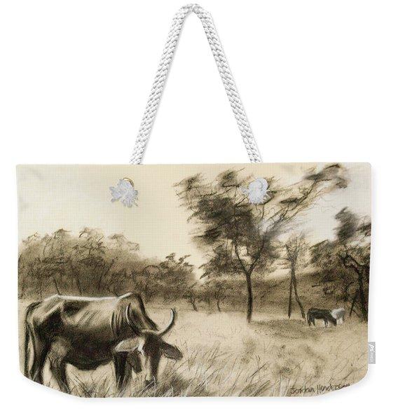 Lone Cow Grazing Weekender Tote Bag
