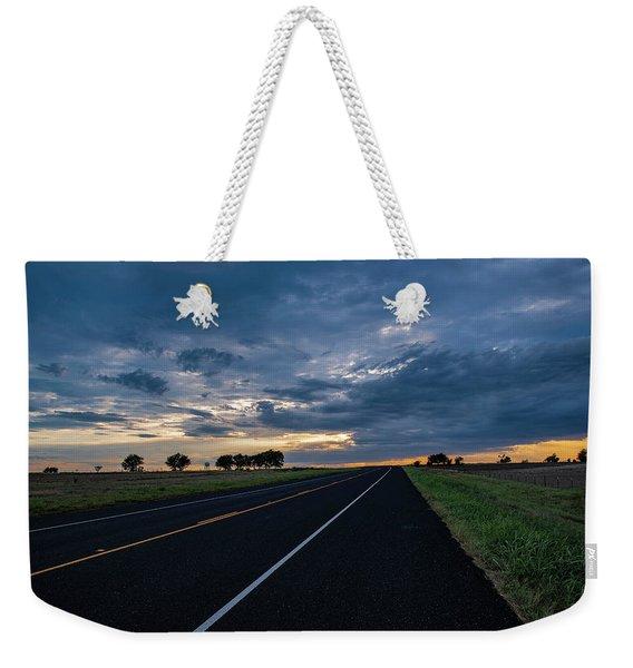 Lone Highway At Sunset Weekender Tote Bag