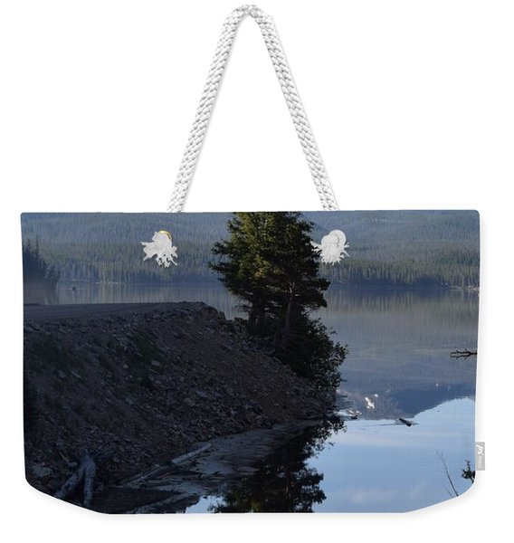 Weekender Tote Bag featuring the photograph Lone Pine Reflection Chambers Lake Hwy 14 Co by Margarethe Binkley
