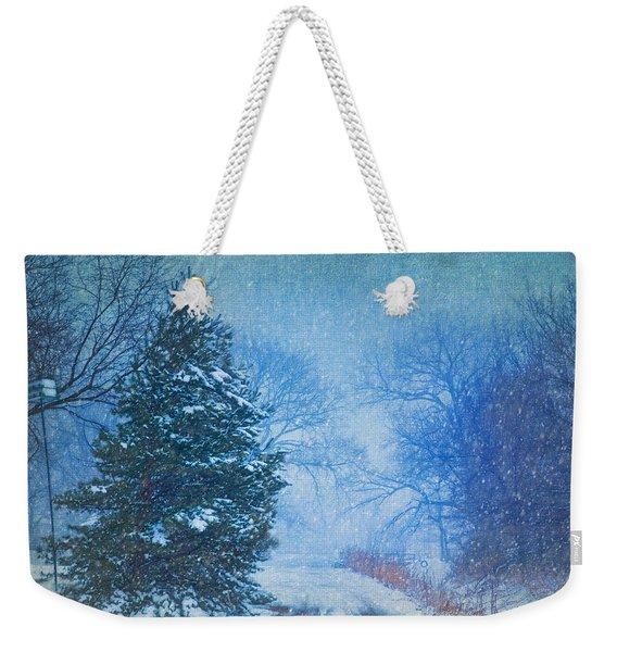 Lone Snowy Lane Weekender Tote Bag