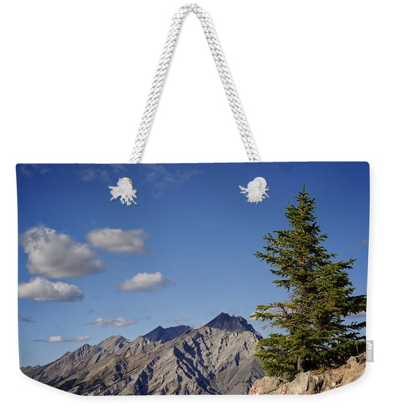 Weekender Tote Bag featuring the photograph Lone Tree On Sanson Peak by Mary Lee Dereske