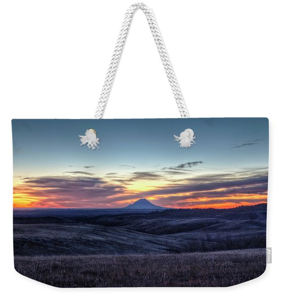Lonely Mountain Sunrise Weekender Tote Bag