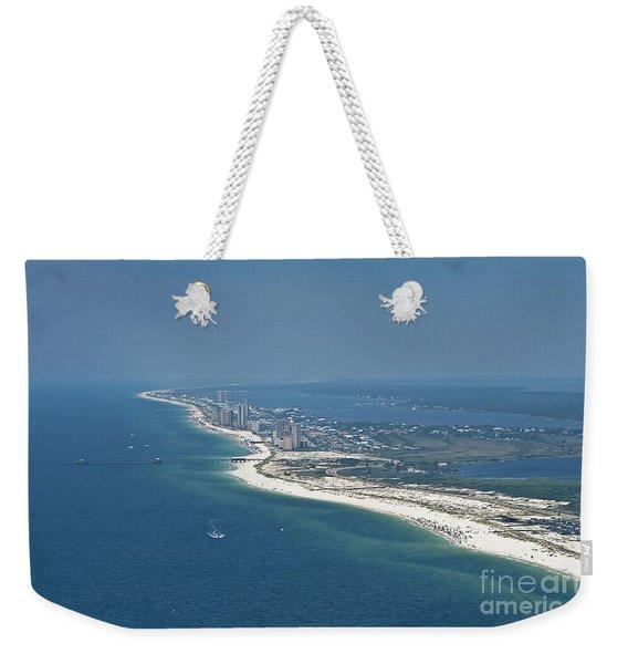 Long, Aerial, Beach View Weekender Tote Bag