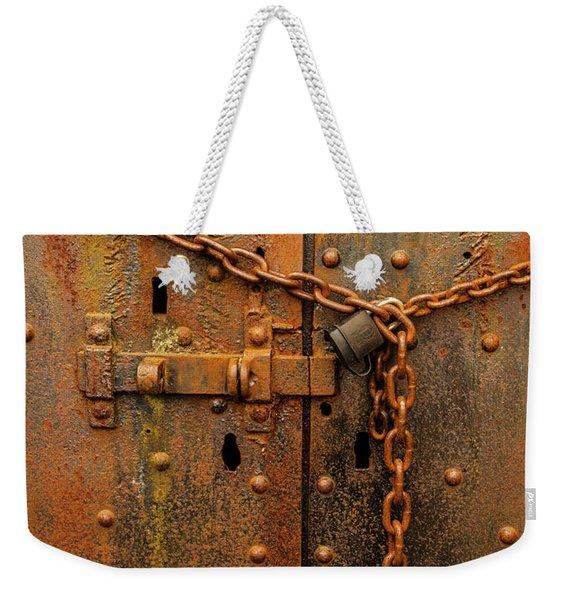 Long Locked Iron Door Weekender Tote Bag