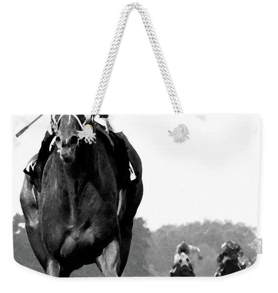 Looking Back, 1973 Secretariat, Stretch Run, Belmont Stakes Weekender Tote Bag