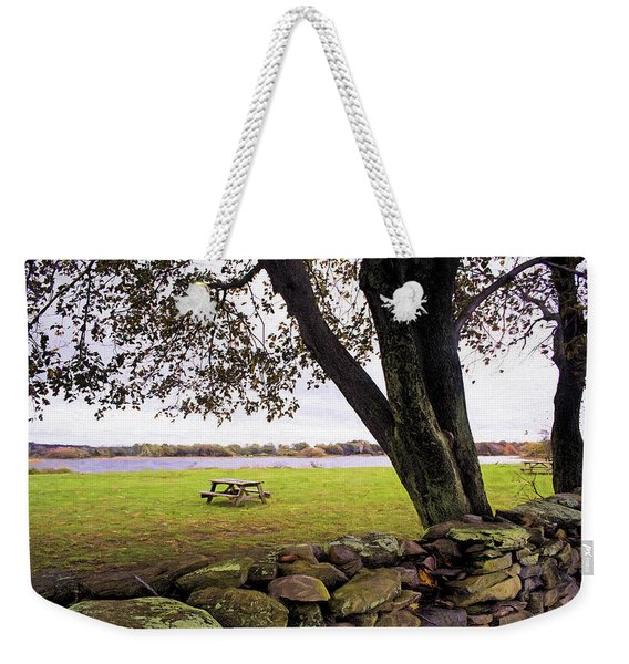 Weekender Tote Bag featuring the photograph Looking Over The Wall by Nancy De Flon