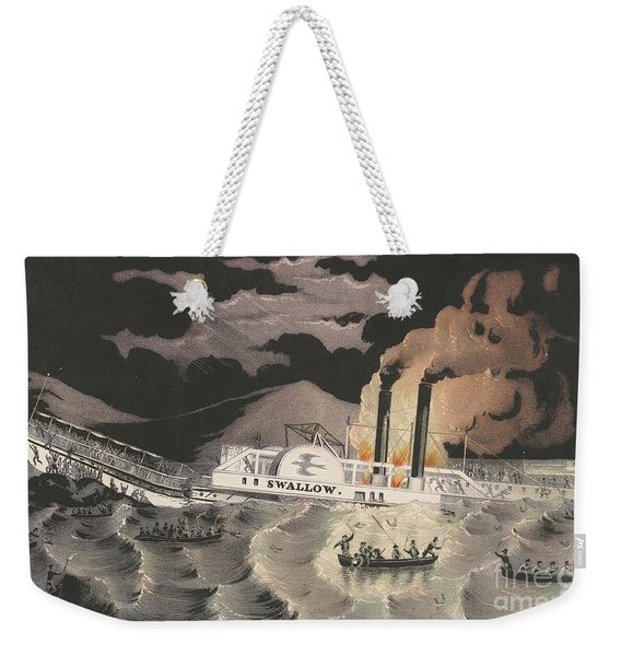 Loss Of The Steamboat Swallow, While On Her Trip From Albany To New York, 1845 Weekender Tote Bag